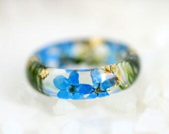 resin ring statement ring resin jewelry flower resin ring forget-me-not botanical ring real flower jewelry pressed flowers moss wedding ring