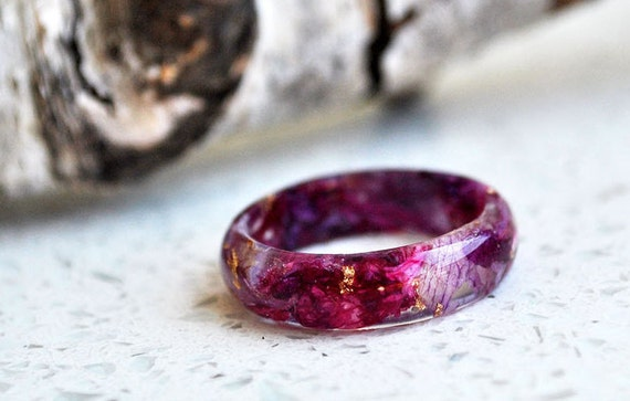 Eco Resin Ring Band with Natural Pressed Оrchid Petals and Gold Flakes and nature moss.