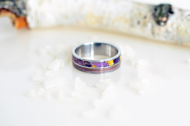 yellow sunflower Purple titanium ring mens Silver ring for men Mens wedding Silver Ring with Purple Bells Purple titanium ring mens