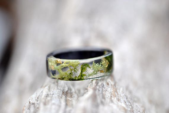 gift for her green moss real plant jewellery woodland eco resin Nature inspired rings Resin rings Forest resin moss ring