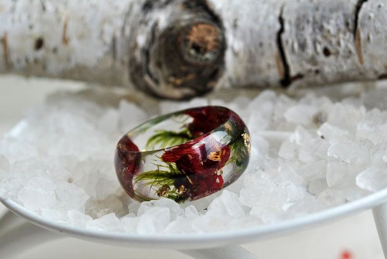wide band ring forest jewelry,lichen statement ring marsala ring statement jewelry engagement ring pressed real flower ring moss ring