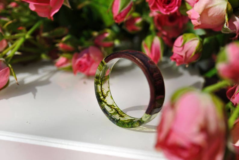 resin moss rings Womens wood ring Forest jewelry nature lover image 0