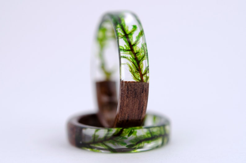 resin moss rings Womens wood ring Forest jewelry nature lover image 1