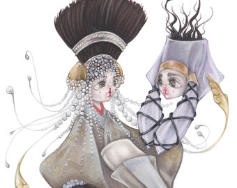 Mermaid star wars pop surrealism padmé amidala queen naboo ORIGINAL