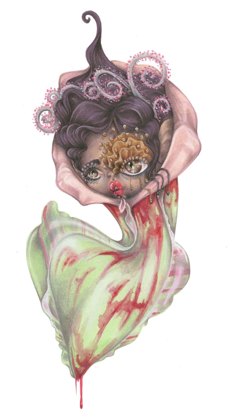 Rihanna pop surrealism flowers carnivorous plant gothic vampire pat mcgrath pastelgoth ORIGINAL