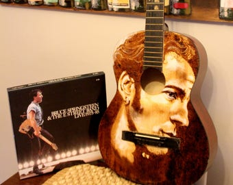 Bruce Springsteen. Painted guitar. Pyrography. Acoustic guitar. Wood burned guitar .Art guitar. The Boss