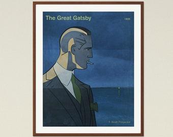 Scott Fitzgerald The Great Gatsby; Medium Literary Book Cover Poster, Librarian Gift, Literature Gift, Modern Home Decor, Digital Download