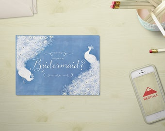 Will you be my bridesmaid? - Jane Austen Printable Bridesmaid / maid of honor / matron of honor card, Romantic Wedding, Blue Serenity