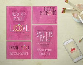 Funny Printable Wedding Invitation Suite, Modern Wedding Invite set, contemporary wedding, Pink Wedding Invitation Suite