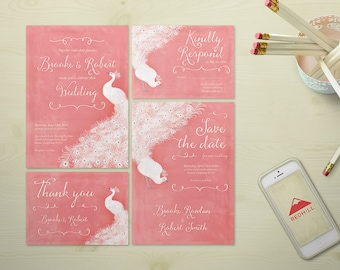 Jane Austen Printable Wedding Invitation Suite, Romantic Wedding Invitation, White Peacock wedding, Romantic Boho Wedding, Rose Quartz