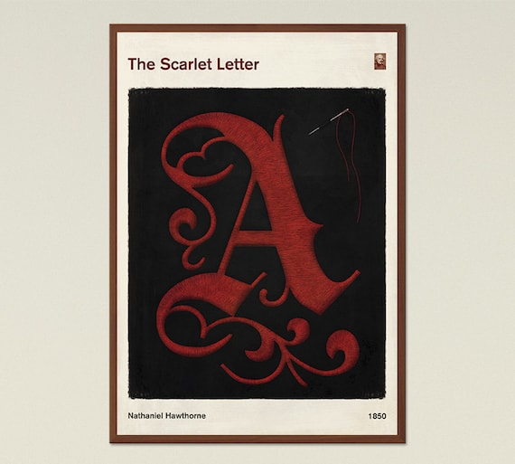 The Scarlet Letter Book Cover.The Scarlet Letter Large Literary Book Cover Print Bookish Gift Classic Literature Poster Modern Home Decor Digital Download