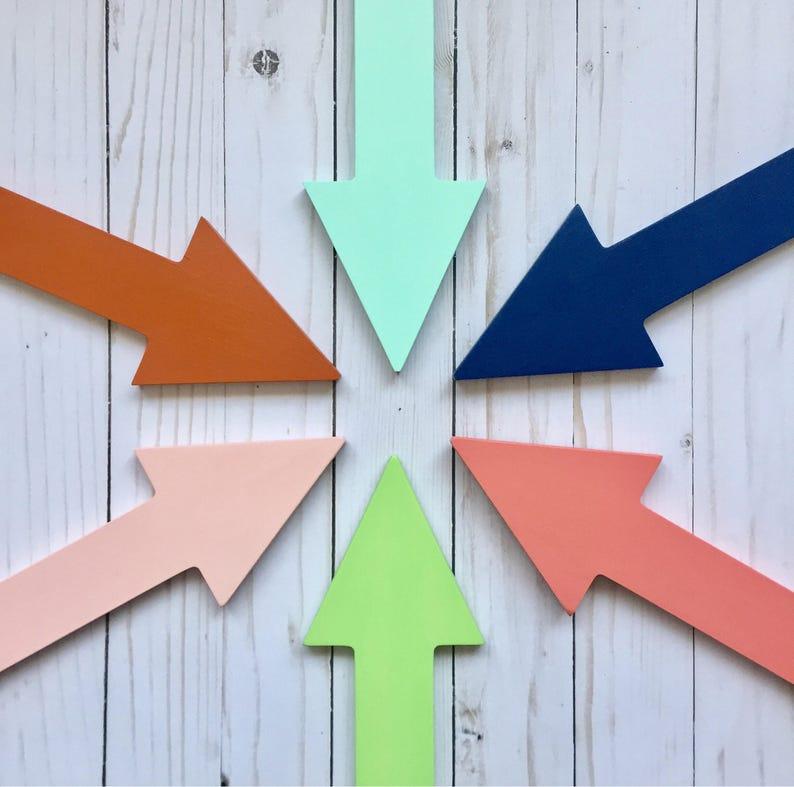 Kids Room Arrow, Bright Colors, Wood Wall Arrow, Arrow Art, Nursery Arrow,  Painted Arrow, Pointing Left or Right, Navy Lime Rust Dark Orange