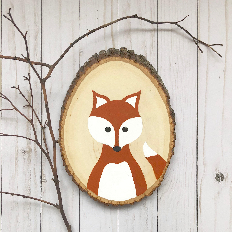 Nursery Fox Art, Fox Wood Slice, Woodland Nursery Art, Fox Painting,  Woodland Fox, Burnt Orange Camping Nursery, Hand Painted Fox
