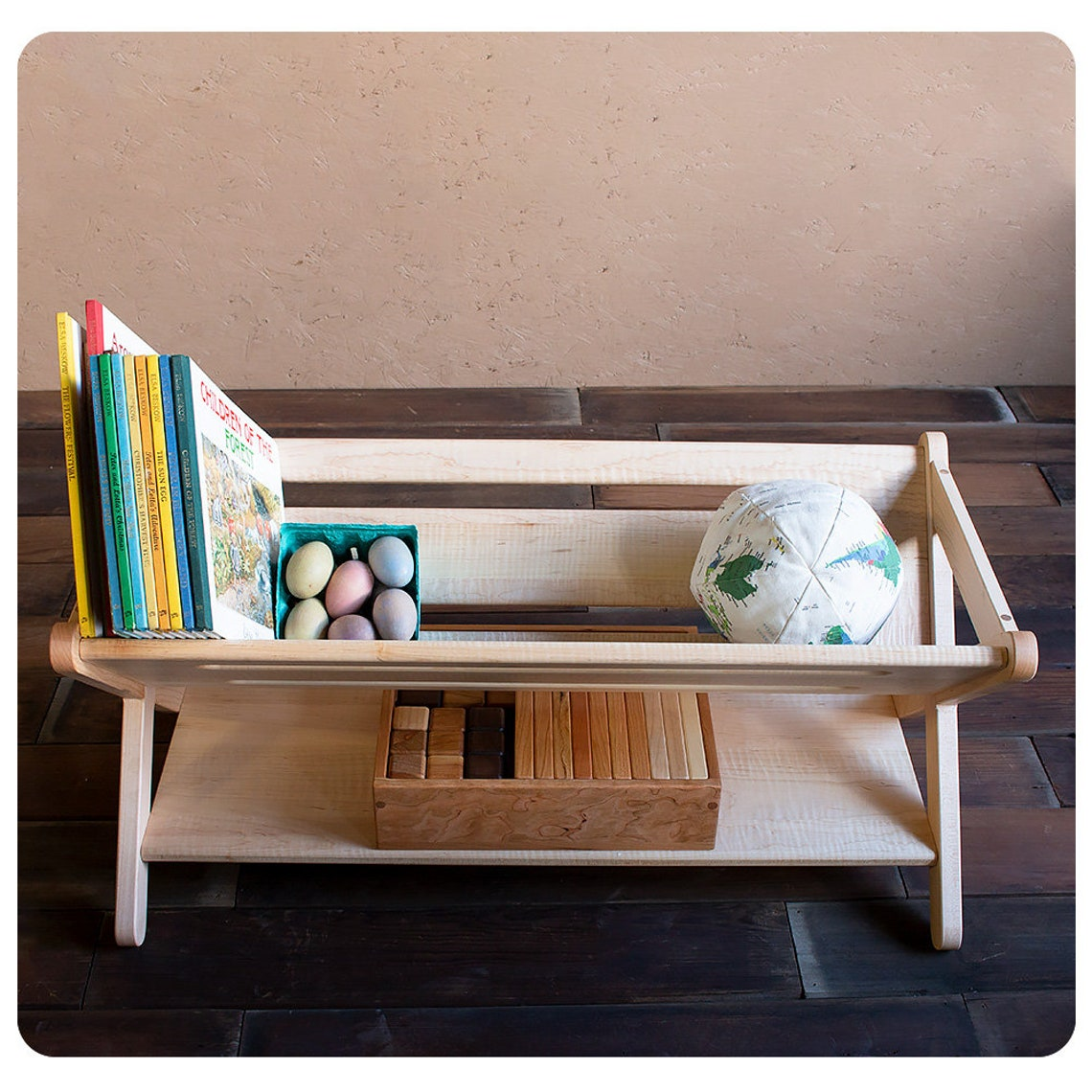 Maple Wood Trough-Style Bookcase/Storage