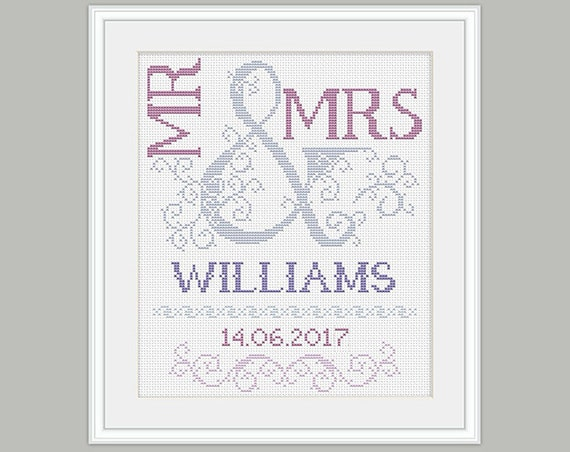 Scheme For Cross Stitch Wedding Cross Stitch Pattern Mr Etsy Impressive Cross Stitch Wedding Patterns