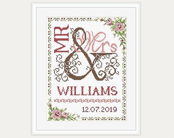 Mr and Mrs Wedding cross stitch Wedding Gift Modern cross stitch pattern Heart cross stitch Love Counted cross stitch Birds cross stitch PDF