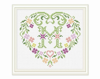 Cross stitch pattern - Personalized Family Monogram - Embroidery - Gift - Cross stitch Monogram - PDF - INSTANT DOWNLOAD