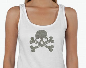 Round neck women t-shirt SKULL