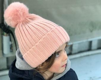 Fur Pom Pom Beanie for adults and kids