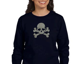 Round neck women sweater GLITTER SKULL