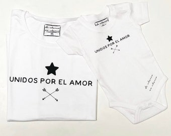 Pack short sleeve white t-shirts Unidos por el Amor (adult + child/baby)