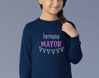 Boy/girl/baby t-shirt or body HERMANA MAYOR (Big Sister) or MENOR (Little sister)