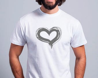 Round neck men short sleeve t-shirt HEART