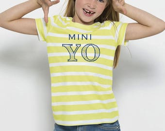Girl t-shirt stripes white-lime or white-blue MINI YO