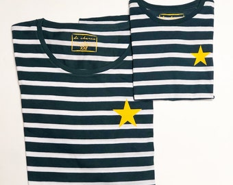 Pack short sleeve striped t-shirts yellow star (adult + child/baby)