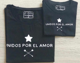 Pack short sleeve black t-shirts Unidos por el Amor (adult + child/baby)