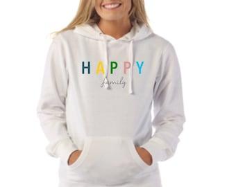 Round neck women hoodie HAPPY FAMILY