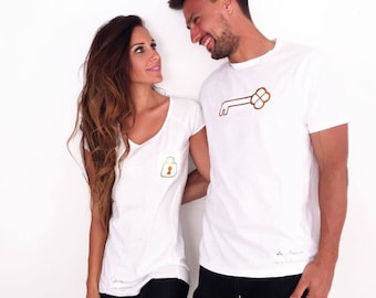 Women, Men, Children t-shirt LOCK-KEY in Copper color