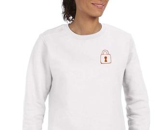 Round neck women sweater KEY and PADLOCK