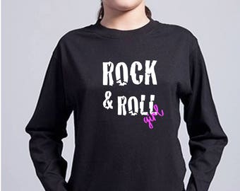 Round neck girl t-shirt or body ROCK & ROLL GIRL