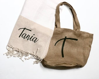Pack beach towel and shopping bag.