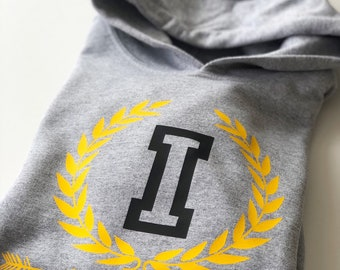 Kid toddler long sleeve hoodie INITIAL and YEAR of birth
