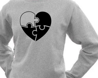Round neck women sweater PUZZLE HEART