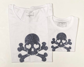 Pack short sleeve white t-shirts Skulls (adult + child/baby)