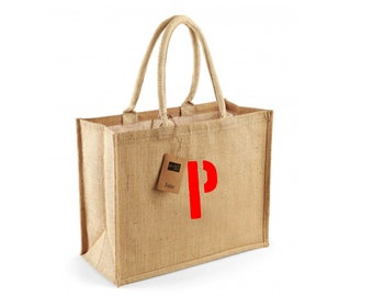 Beach or shopping bag made of yute customizable with an initial