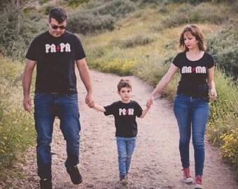Women, Men, Children t-shirt MAMA PAPA PEKE thunder