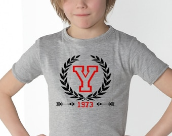 Round neck t shirt or body for boys and girls t-shirt INITIAL and YEAR of birth