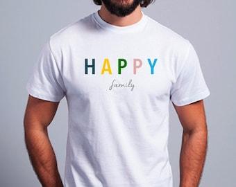 Round neck men short sleeve t-shirt HAPPY
