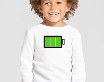Boy/girl/baby t-shirt or body BATTERY HIGH