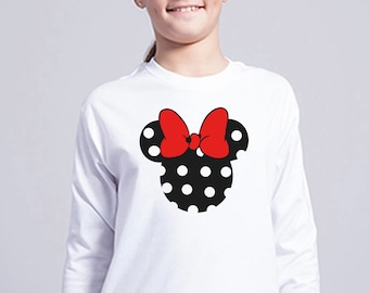 Boy/girl/baby t-shirt or body black silhouette with polka dots and bright red or animal print ribbon