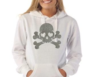 Round neck women hoodie SKULL