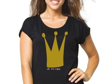 Women tee with glitter CROWN (de mi casa)