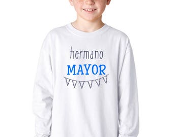 Round neck boy t-shirt or body HERMANO MAYOR (Big Brother) or MENOR (Little brother)