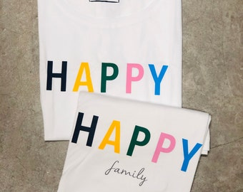 Pack short sleeve white t-shirts HAPPY FAMILY (adult + adult or child/baby)