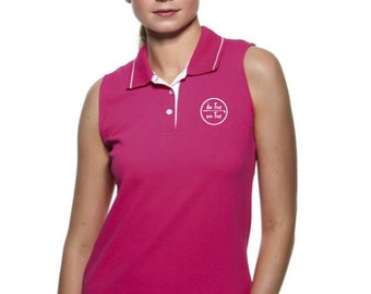 Sleeveless pique polo t-shirt for women De Tee En Tee logo in different colors.