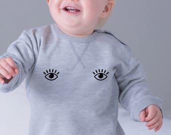 Boy Girl Baby sweater OPEN EYES